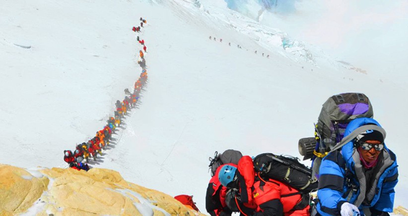 Human traffic jam at Mt. Everest