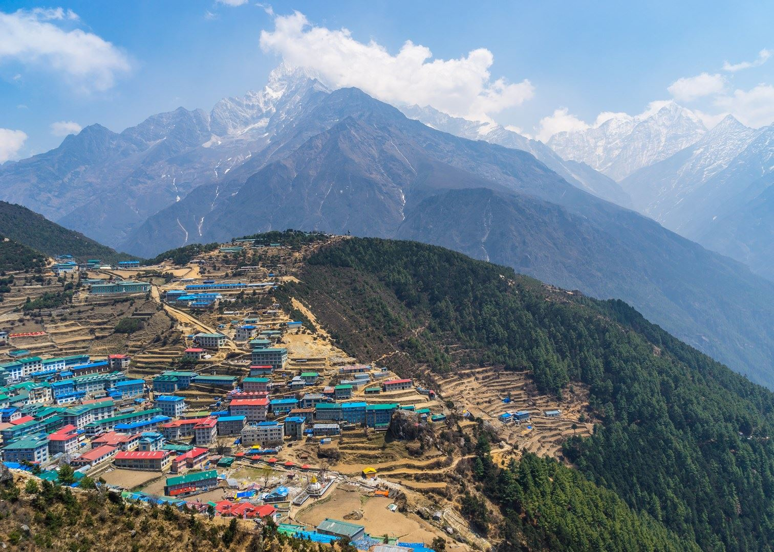 Namche Bazaar with Mt. Everest in the back