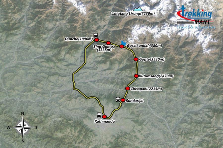 GosaiKunda Trekking Map