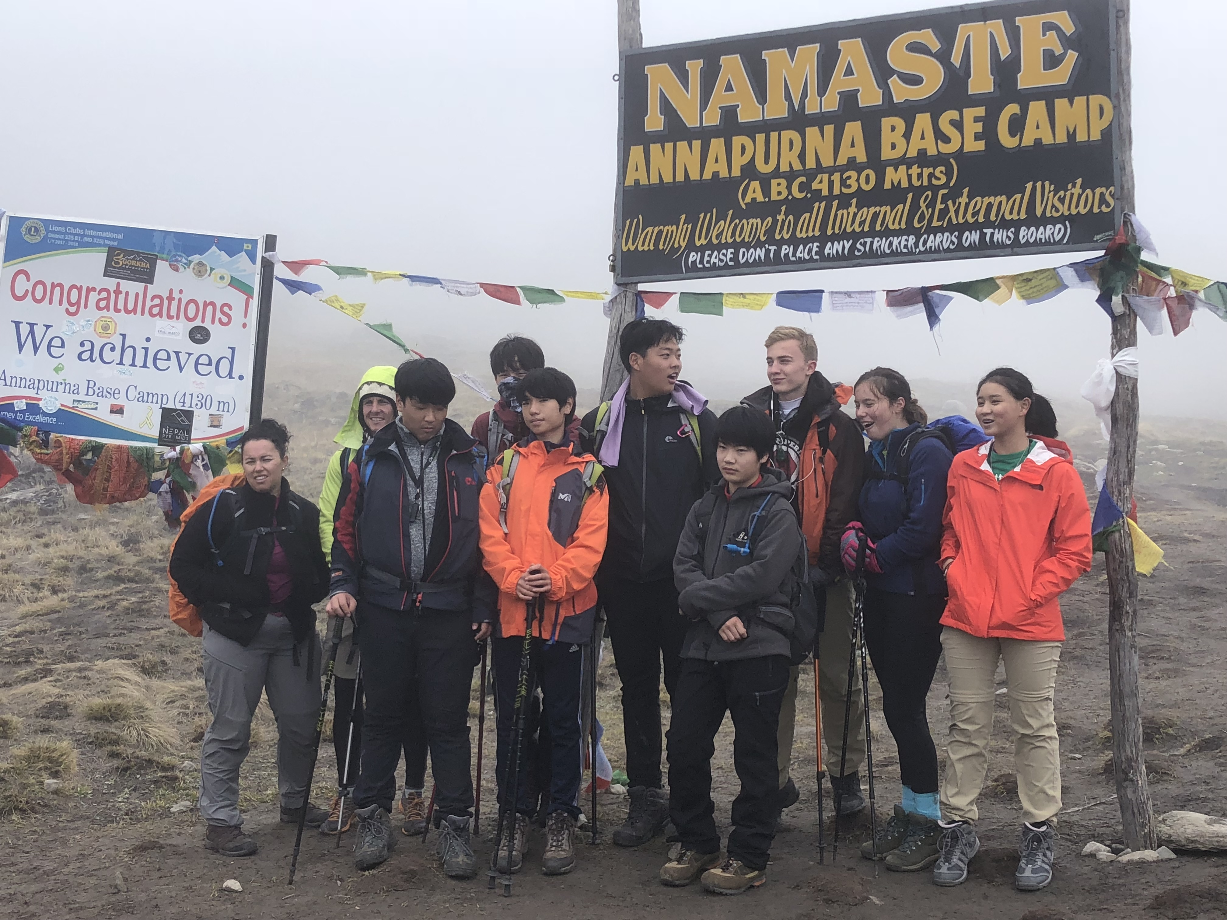 Students group at Annapurna Base Camp
