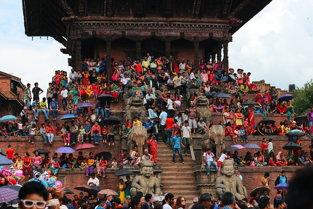 Crowd in Gai Jatra Festival